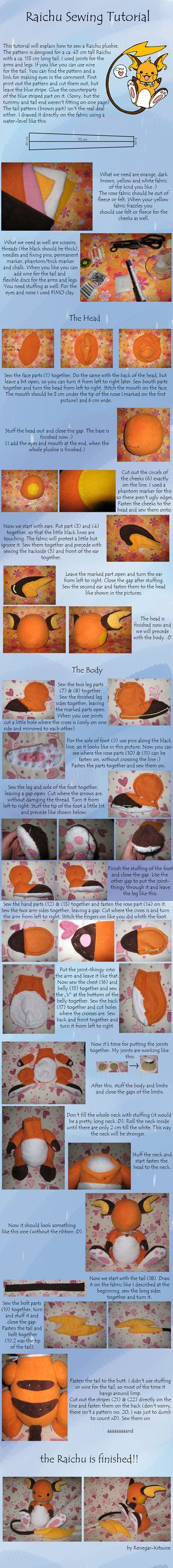 Raichu Sewing Tutorial by *Renegar-Kitsune on deviantART  Pikachu evolves into this one.