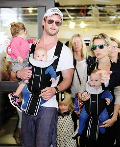 Look! Chris Hemsworth has twin babies! Aren't they cute?!  ♥ Visit my celebrity site at www.celebritysize... for more fun stuff!♥ #celebritysize