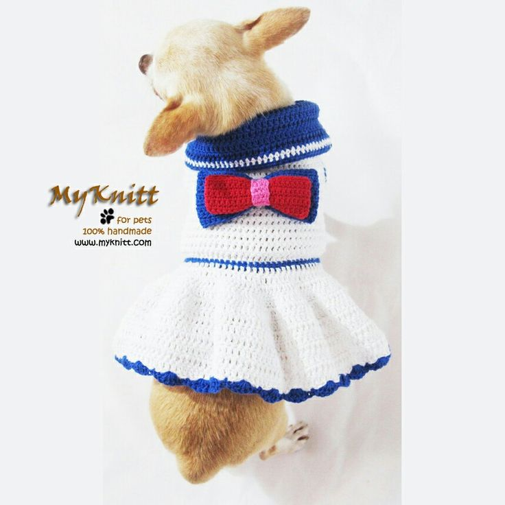 Sailor dog dresses perfects for 4th july celebration. Handmade crocheted from Myknitt. #JULY4TH #PATRIOTICDAY #chihuahua #dogdresses #crochet #DesignerDogClothes #Myknitt