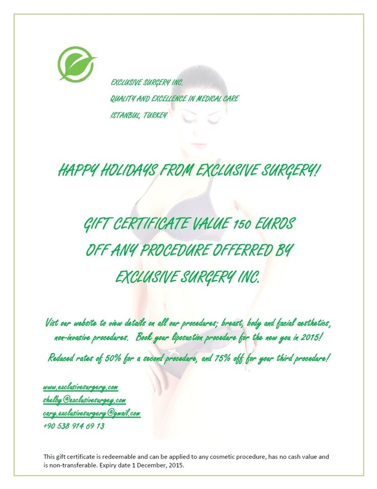 For a very personal gift to someone special, check out our Christmas gifts and promotions for December.  Also see our website at http://exclusivesurgery.com/Exclusive-Surgery/Promotions