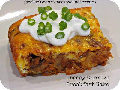 Cheesy Chorizo Breakfast Bake    INGREDIENTS 9 oz. Pork Chorizo 4 oz. Onion - Thinly sliced 2 Tbs. Butter 2 Tbs. Garlic - Minced 6 Eggs 2/3 ...
