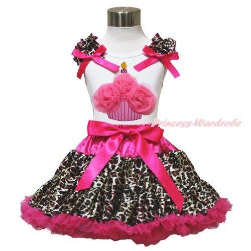 """felroze pettiskirt met luipaard print + witte top """"cupcake"""" Princess Wardrobe"""
