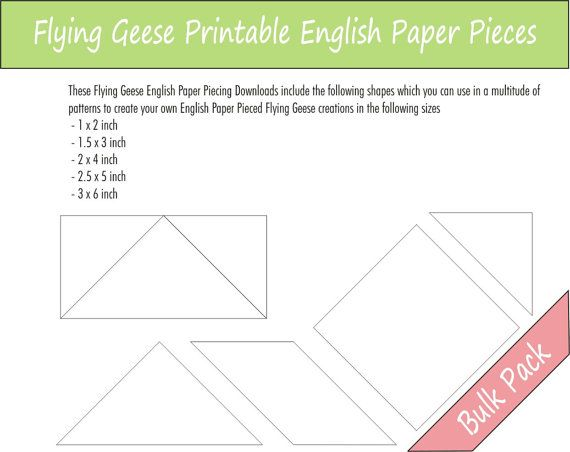 This listing is for 5 sets of Flying Geese Printable English Paper Piecing Pieces ready for instant download.  This dowload include the following sized templates: 1 x 2 1.5 x 3 2 x 4 2.5 x 5 3 x 6  These are perfect for the sewer who wants to be able to print and cut her EPP pieces at any time, once you have downloaded this file you have it for reprinting whenever you wish.  If you require these templates in a size not listed above please dont hesitate to contact me.  **Please remember to…