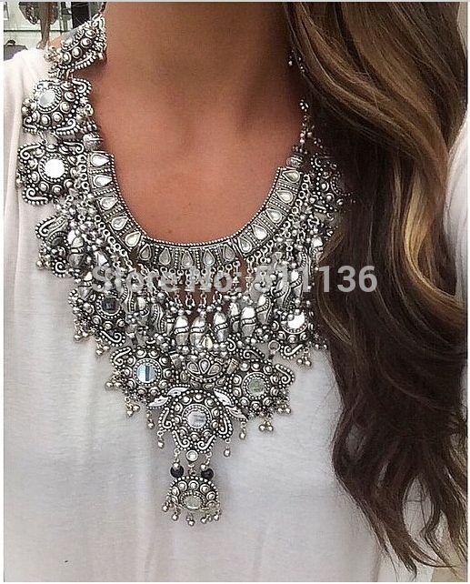 2015 , en argent millésime Long Boho déclaration collier Trendy bohême turque pour les femmes accessoires de bijoux indiens KK-SC893(China (Mainland))