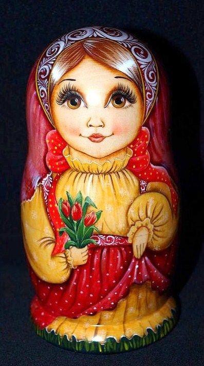 Matryoshka (Russian nesting doll) with tulips.