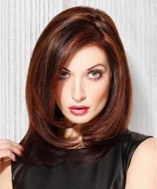 A Long Brown Straight Multi Tonal Coloured Side Parting