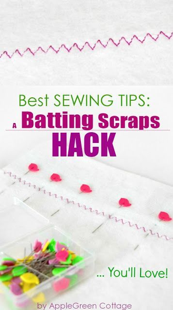 Learn how to join batting scraps. Make the most of leftover batting pieces - here's how. #sewingtutorial