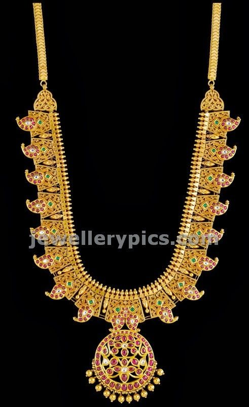Kalyan jewels Sankalp Mango ruby haaram design - Jewellery Designs