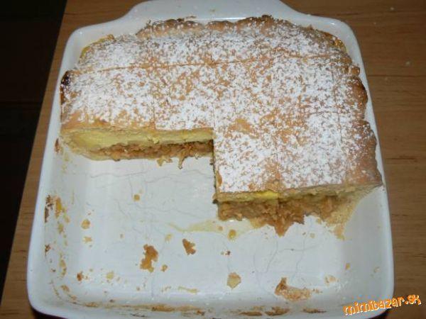 Štedrý jablkovo tvarohový koláč Cesto: 350g polohrubej múky, 80g tuku, 1/2 prášku do pečiva, 40g cukru práškového, 2 vanilky, 1 vajíčko, 1dcl. mlieka * PLNKA JABLKOVÁ: 5-6 jabĺk nastrúhaných na veľké slížiky, 3 lyžice cukru, 1škoricový cukor, 2hrste popučených pišót. * PLNKA TVAROHOVÁ: 250g krémového tvarohu, 2,5 dcl mlieka, 1 krémový prášok - maizena, 1 vajíčko, 2lyžice cukru (podľa chuti), 1cl. rumu.