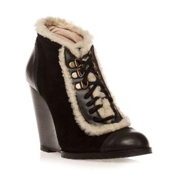Boots compensées en cuir suédé noir - Lollipops - Ref: 955272 | Brandalley