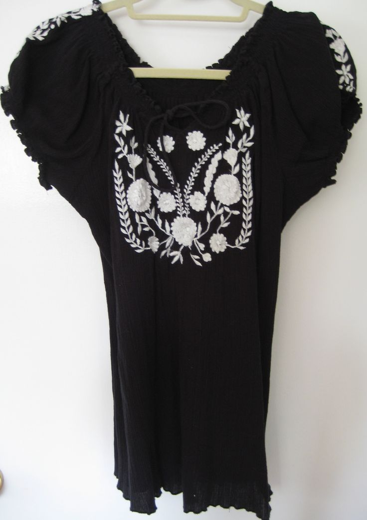 Black Peasant Blouse with white Embroidery from eShakti - no longer own