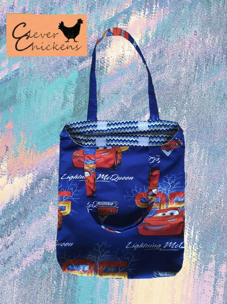Lightning McQueen Library Bag with padded handles and velcro closure