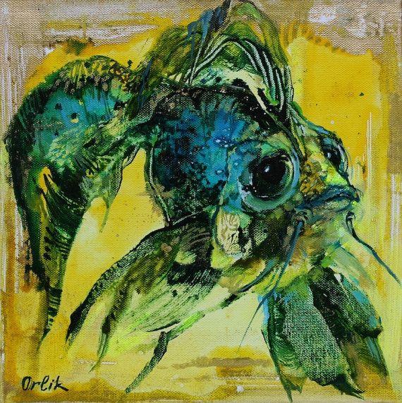Original Small Painting 30x30cm Acrylic colors Modern Art on canvas Wall Decor by Inna Orlik