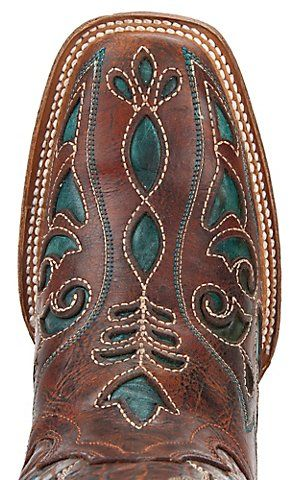 Corral® Ladies Distressed Cognac Brown w/ Turquoise Inlay Square Toe Western Boots   Cavender's Boot City