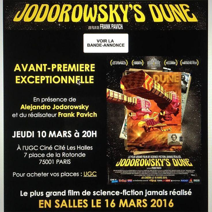Jodorowsky's Dune Avant Premiere in Paris on March 10 8:00pm at UGC Ciné Cité Les Halles  #jodorowskysdune #avantpremiere #cinema #dune #cult #event #alejandrojodorowsky #frankpavich #paris spiritualwarriors #cinécitéleshalles by pascale_montandonjodorowsky