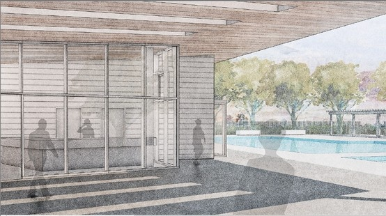 Rendering of new pool and change room at Emerald City/Parkway Forest Toronto