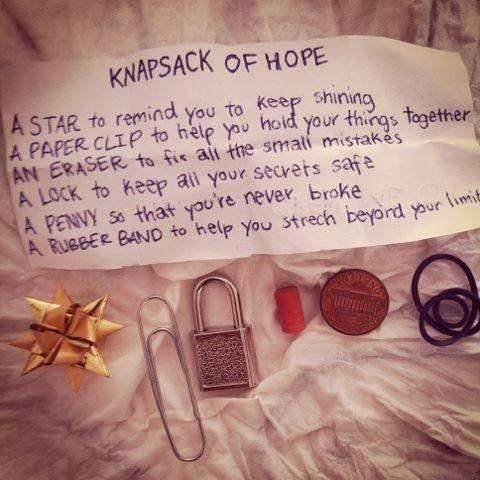 Knapsack of Hope Beautiful Words (and things) This is a good parting gift for students at the end of the year!!! Cheap yet creative and personable.