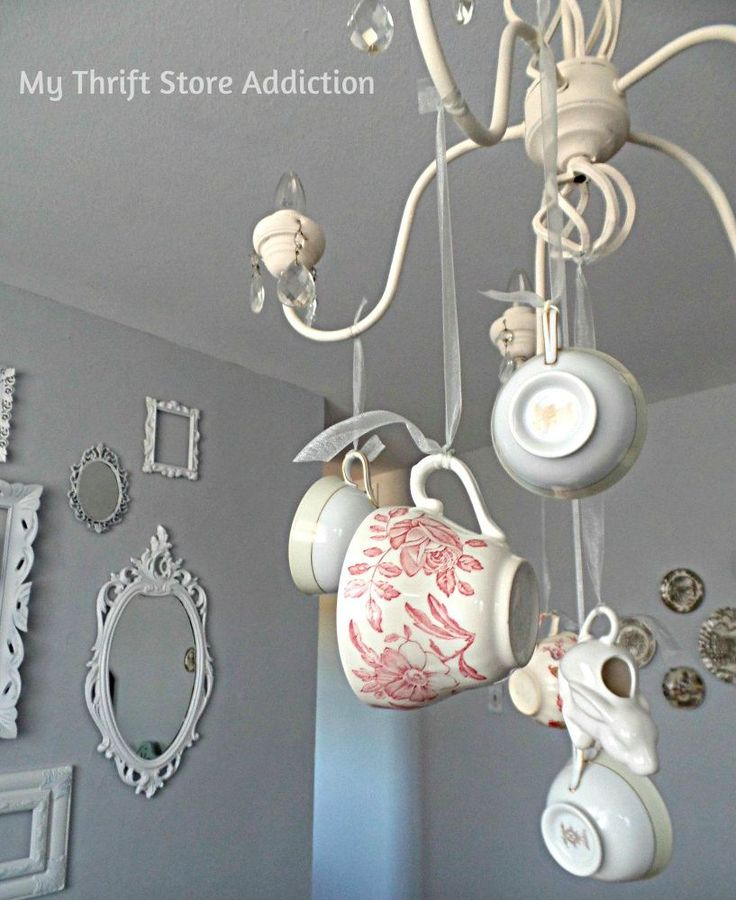 Teacup Chandelier Diy Handmade Using Repurposed Light Fixture And How To