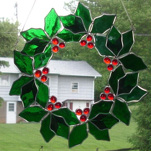 Stained glass Christmas Wreath                                                                                                                                                                                 More