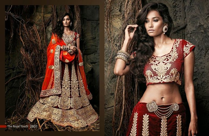 Beautiful collection of Velvet Wedding Lehenga with heavy embroidery work en-crafted in Orange Maroon color. Along with Contrast Matching Velvet Duppatta and Blouse.
