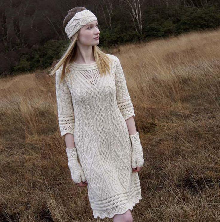 Irish Aran Dress With Scallop Lace by Natallia Kulikouskaya for West End Knitwear, Ireland