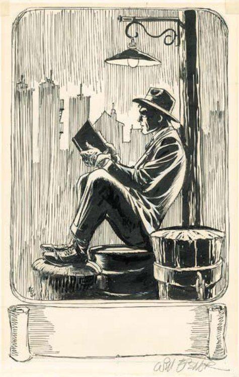 will eisner art | Le Neuvième Art, Le Spirit fait une pause Will Eisner ex libris - estampe