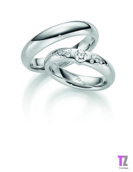 Witgouden trouwringen met diamant. kijk voor meer bijzondere trouwringen op www.trouwringen-zwolle.nl