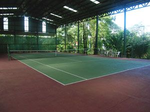 Open yet covered tennis courts.