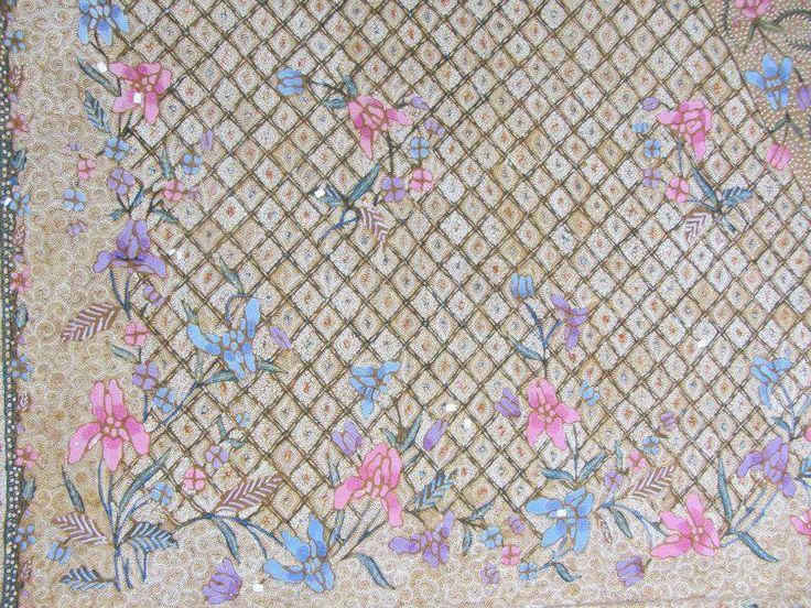 Detail of Demakan Batik. Tanahan Putih pattern. Handrawn Indonesian Batik
