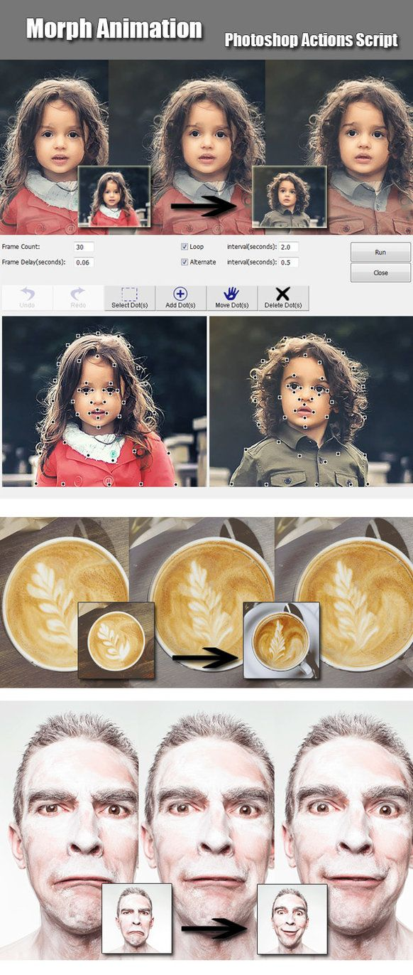 DOWNLOAD: goo.gl/XpdK55Morpher Animation This is a .JSX scripted action pack. It will allow you to create a morph animation between two pictures.FeaturesWorks in Photoshop CS4,CS5,CS6,C...