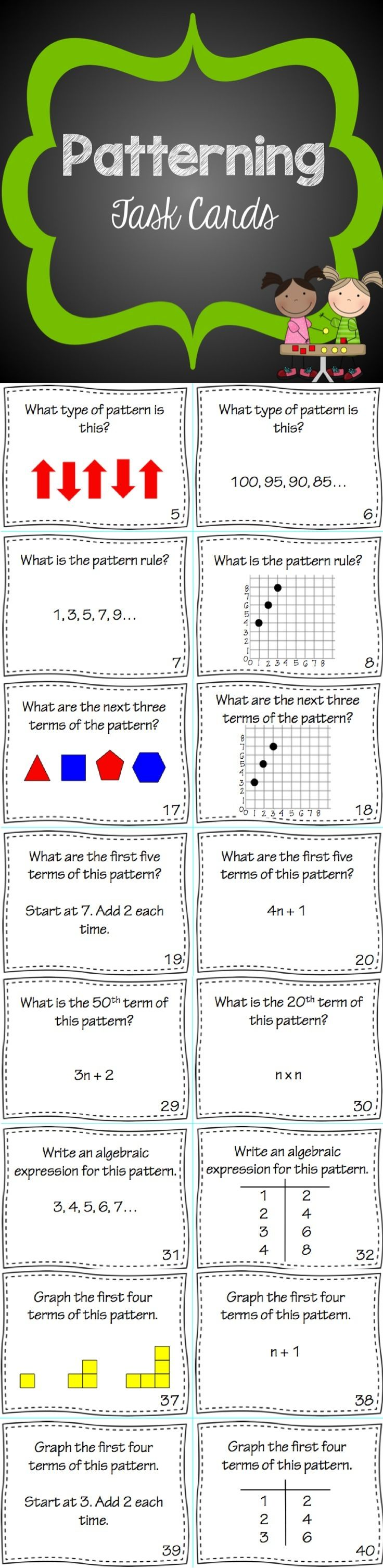 This set of 40 Patterning Task Cards reviews the concepts of pattern rules, finding the next term in a pattern, using algebraic expressions to describe patterns and graphing patterns. Wether you use this as a unit introduction, math centre, or review activity, your students will love this activity. An answer sheet and answer key are included.