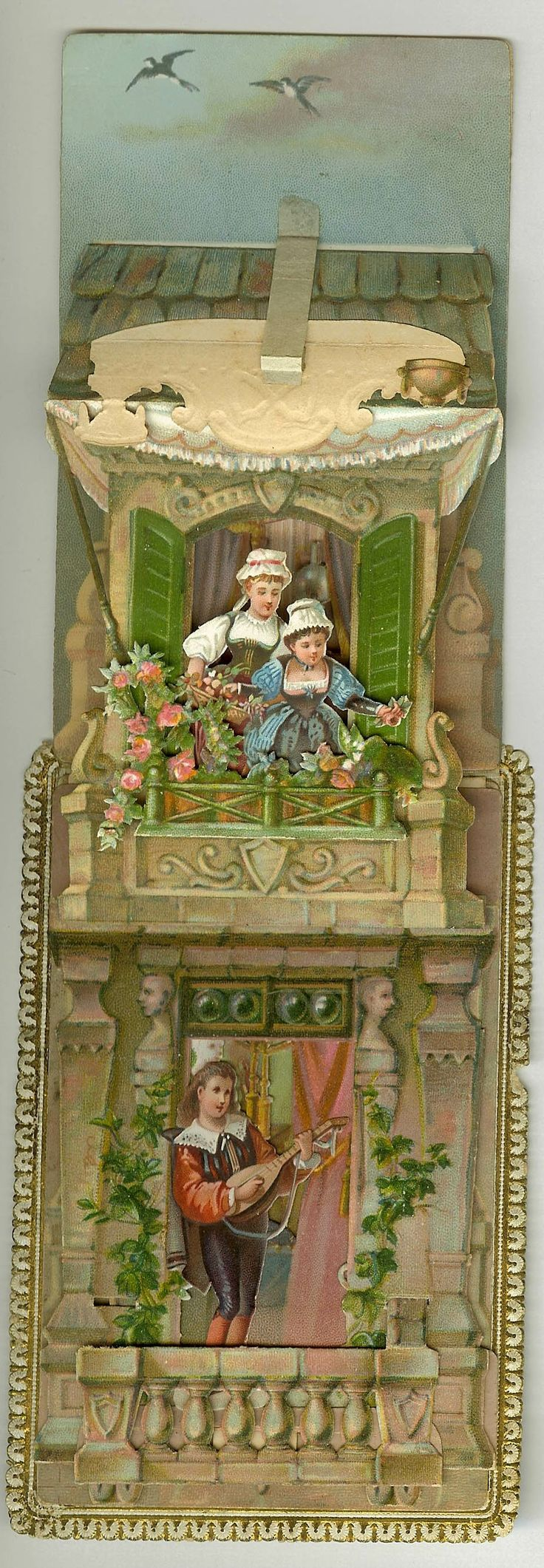 Vintage Italian greeting card with delicately hand-cut pop-up balcony.