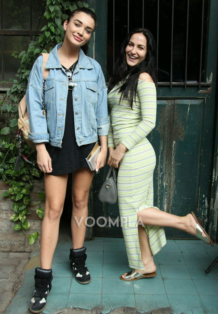 Bollywood imports Elli Avram and Amy Jackson... we spotted them as they stepped out for a lunch date in Mumbai via Voompla.com