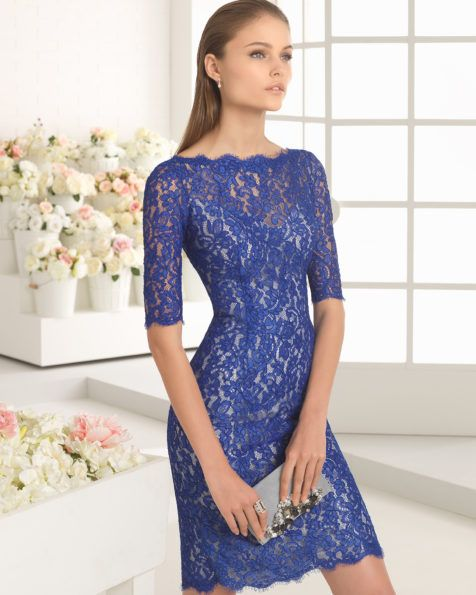 Classic short lace dress with boat neckline and three-quarter sleeves (accessorised with mikado jacket), available in green, cobalt/silver and beige.
