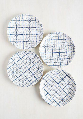 That's My Shibori, Sticking to It Plate Set - Blue, Geometric, Daytime Party, White, Print, Blue, Wedding, Boho, Statement, Americana, Spring, Summer, Fall, Winter