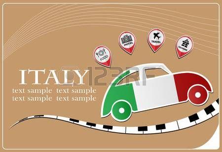 Icono del coche hecho de la bandera de Italia