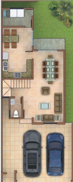 Planos de Casas y Plantas Arquitectónicas de Casas y Departamentos: Plano de distribución de casa de dos pisos y tres recámaras