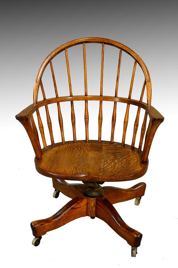 SOLD Rare Oak Windsor Swivel Tilt Office Bankers Lawyers Chair | Antique  furniture - SOLD Rare Oak Windsor Swivel Tilt Office Bankers Lawyers Chair