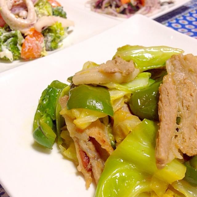 キャベツたっぷり回鍋肉 ブロッコリーとイカの胡麻マヨサラダ もやしのナムル ごはん えのきとワカメの味噌汁  我が家の回鍋肉は、娘たちも食べれるよう甘めです〜❤︎ - 11件のもぐもぐ - 回鍋肉 by chihiroish95Z