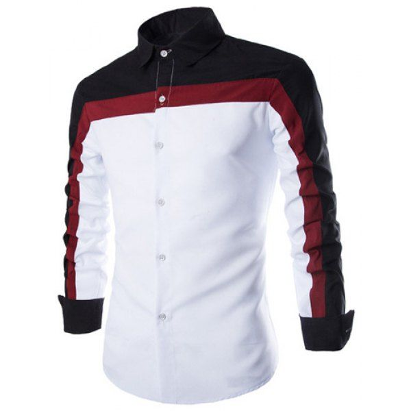 Wholesale Fashion Shirt Collar Fitted Three Color Splicing Long Sleeve Polyester Shirt For Men Only $8.04 Drop Shipping | TrendsGal.com
