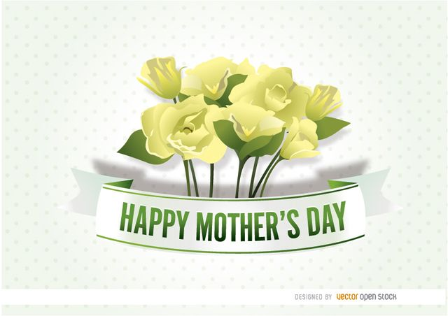 """This is a beautiful design of yellow flowers with a ribbon that has written """"Happy Mother's Day"""" on it, with a clear backdrop full of dots. Make nice cards and promos for that special celebration with this. High quality JPG included. Under Commons 4.0. Attribution License."""