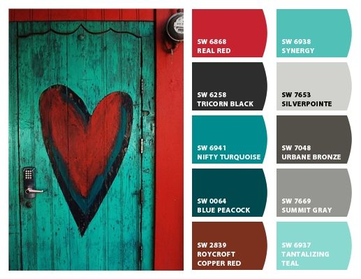 Sherwin Williams Nifty Turquoise / Real Red