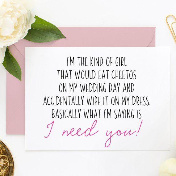 Funny Maid Of Honor Card Funny Bridesmaid Card Will You Be Etsy In 2020 Bridesmaid Cards Funny Bridesmaid Funny Bridesmaid Proposal