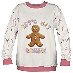 Fringoo Men's Jumper Xmas Sweater Pullover Pug Santa Ugly Winter Sweatshirt One Size Fits S / M Gingerbread