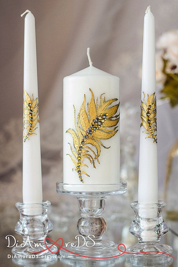 Gold feather wedding unity candle personalized votive от DiAmoreDS
