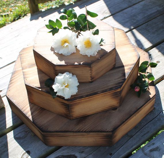 Set of 3 Wedding Wooden Cake and Cupcake Stand Octagon Riser round Base woodland Barn Wood Country Rustic Cake stand for cake or cupcake