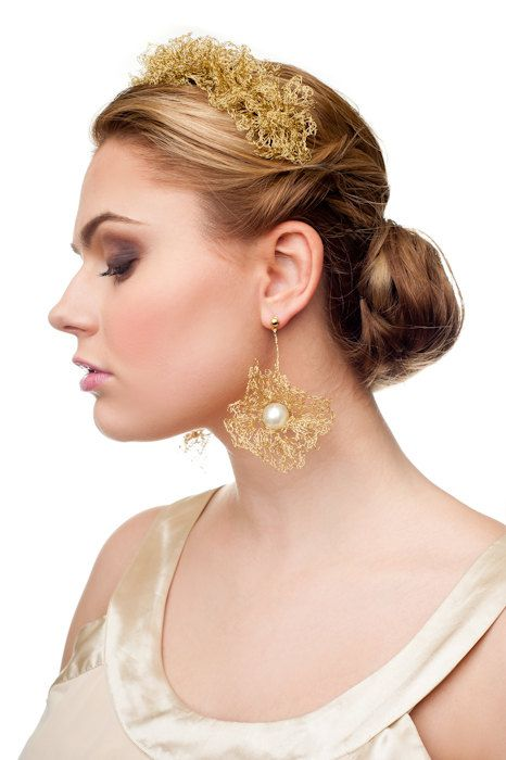 Magnificent gold bridal earrings crocheted from gold plated wire. Gold bridal pearl drop earrings Gold chandelier earrings