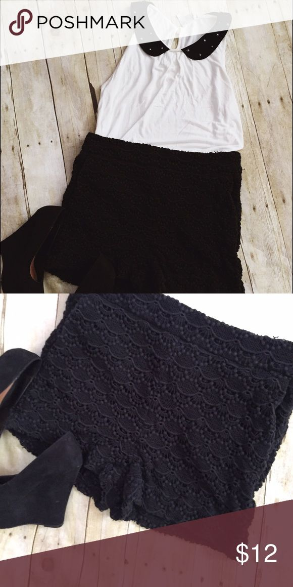 Express Crochet shorts Black shorts from express. They are high waisted with crochet detailing all around. They do have pockets and would look super cute dressed up Express Shorts