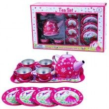 Remember the fantasy involved in a tea party? You'd invite your sister, your best friend or even just your toys. As the hostess you would gather the necessary supplies. Biscuits from the pantry if you were lucky or leaves and flowers from your garden would become gourmet treats thanks to a good imagination.  Spoil the little person in your life with this Sweetness and Charms Tin Tea Set…who knows they could be the future cooks and restaurant owners.