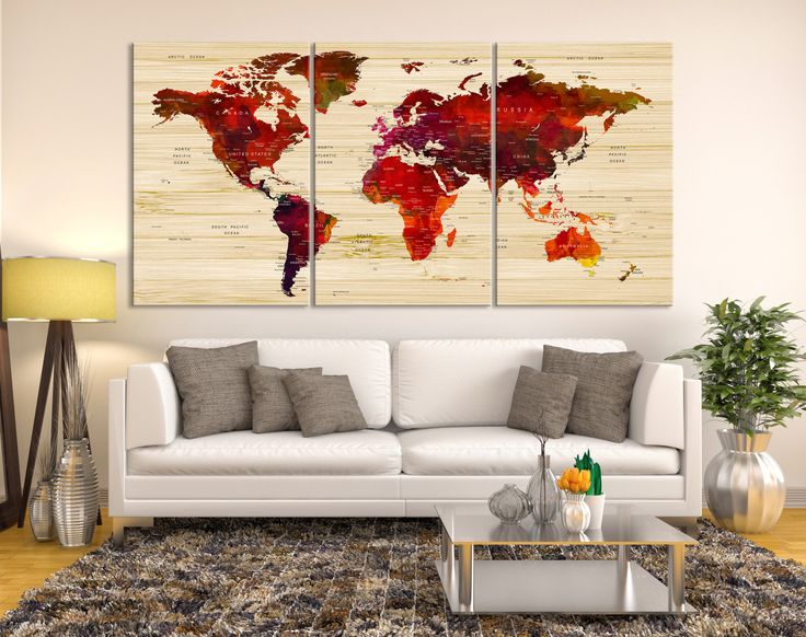 25 mejores imgenes de push pin world map canvas en pinterest mapa push pin world map canvas print red wall art watercolor world map canvas print gumiabroncs Image collections